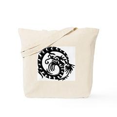 Black Tribal Dragon Tote Bag
