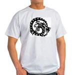 Black Tribal Dragon Ash Grey T-Shirt