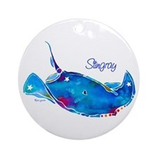 Stingray in Bold Colors Ornament (Round)