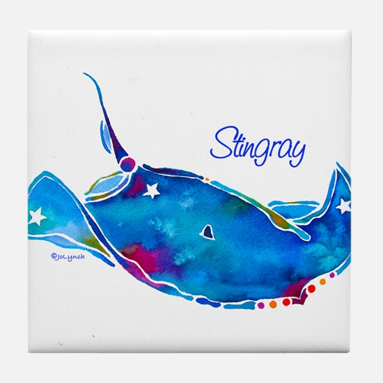 Stingray in Bold Colors Tile Coaster
