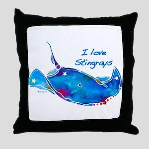 I LOVE STINGRAYS Throw Pillow