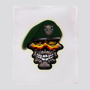 US Army Special Forces Skull Throw Blanket