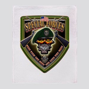 US Army Special Forces Shield Throw Blanket
