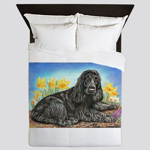 Black Cocker Spaniel Queen Duvet
