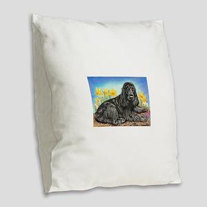 Black Cocker Spaniel Burlap Throw Pillow