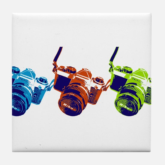 Pop Art Retro Camera Tile Coaster