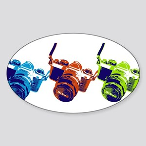 Pop Art Retro Camera Sticker (Oval)