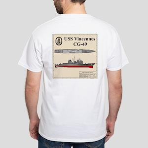 USS Vincennces CG-49 White T-Shirt