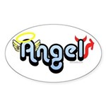 Angel/Devil Oval Sticker