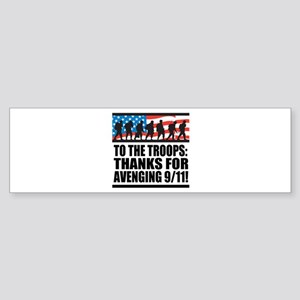 Troops Thanks for Avenging 9/11 Sticker (Bumper)