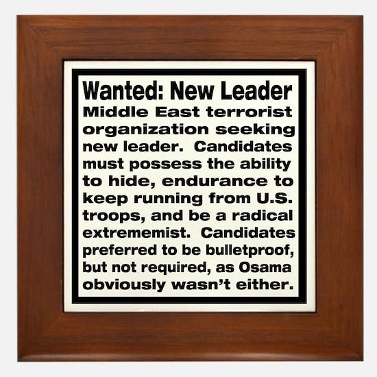 Wanted: New Leader Framed Tile