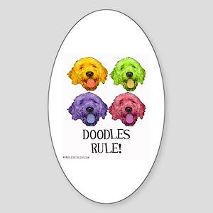 Doodles Rule Oval Sticker