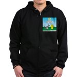 Cat Fire Hydrant Issue Zip Hoodie (dark)