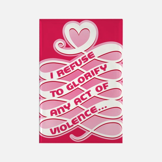 Pink Anti-Violence Rectangle Magnet