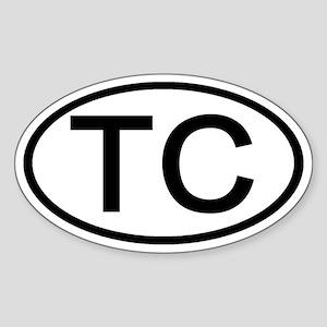 TC - Initial Oval Oval Sticker