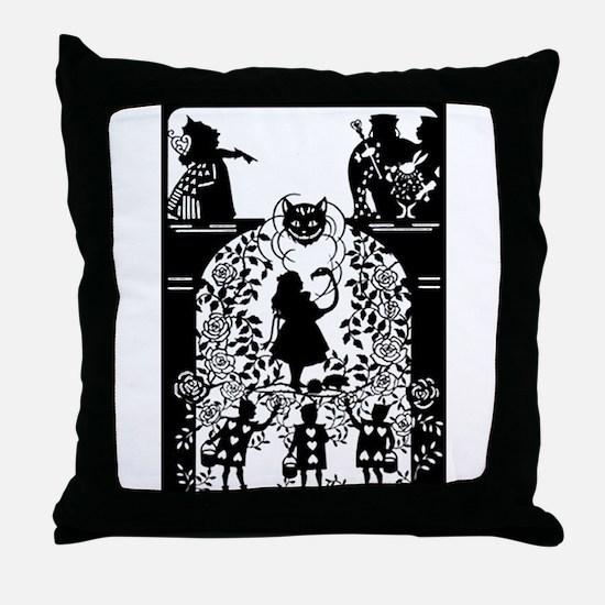 Alice in Wonderland Silhouette Throw Pillow