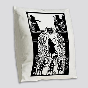Alice in Wonderland Silhouette Burlap Throw Pillow