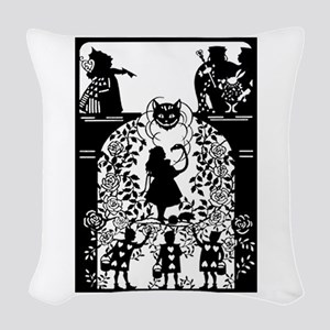 Alice in Wonderland Silhouette Woven Throw Pillow