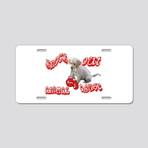 Knock Out Animal Abuse Aluminum License Plate