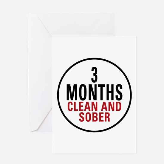 3 Months Clean & Sober Greeting Card