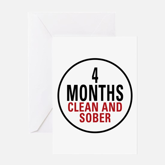 4 Months Clean & Sober Greeting Card
