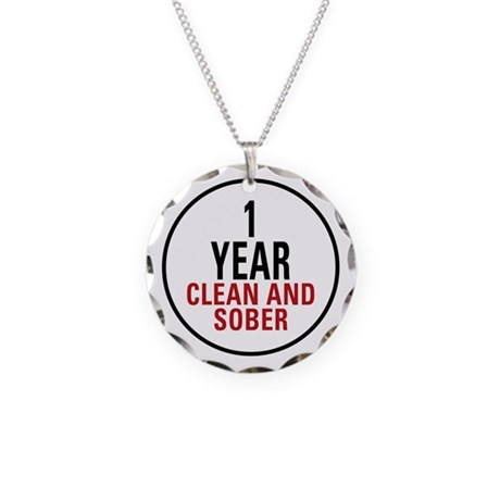 1 Year Clean & Sober Necklace Circle Charm