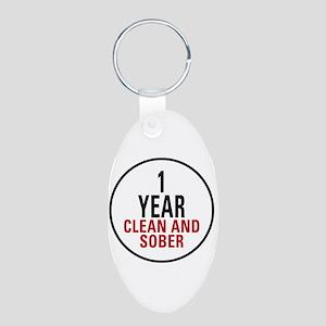 1 Year Clean & Sober Aluminum Oval Keychain