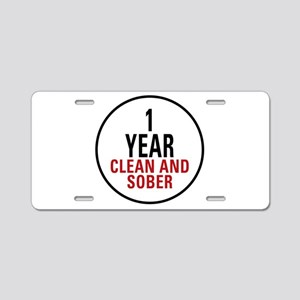 1 Year Clean & Sober Aluminum License Plate