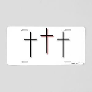 Aluminum License Plate - 3 Crosses