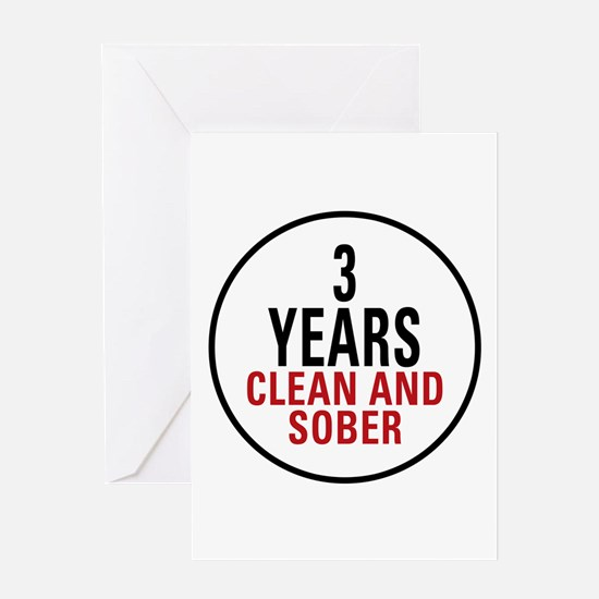 3 Years Clean & Sober Greeting Card