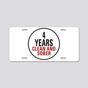 4 Years Clean & Sober Aluminum License Plate
