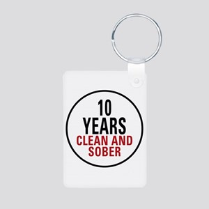 10 Years Clean & Sober Aluminum Photo Keychain