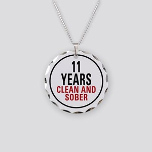 11 Years Clean & Sober Necklace Circle Charm