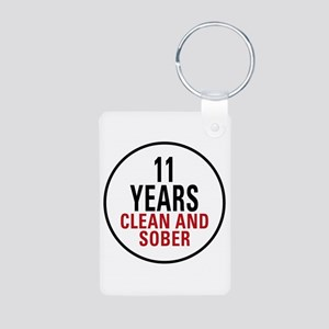 11 Years Clean & Sober Aluminum Photo Keychain