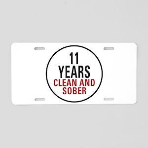 11 Years Clean & Sober Aluminum License Plate