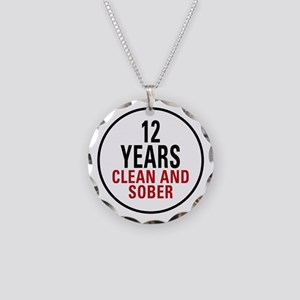 12 Years Clean & Sober Necklace Circle Charm