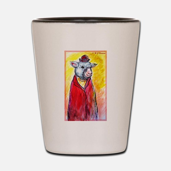 Sheep, cute, fun, Shot Glass