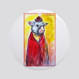 Sheep, cute, fun, Ornament (Round)