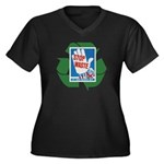 stop waste recycle Women's Plus Size V-Neck Dark T