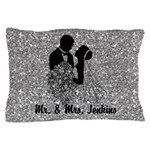 Silhouette Bride & Groom Silver Faux Pillow Ca