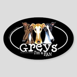 Greys Fan Funny Sticker (Oval)