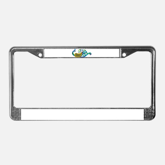 Abstract Peacock License Plate Frame