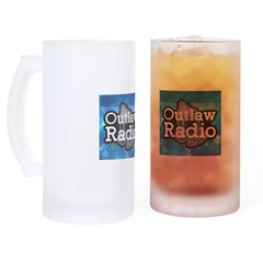 Blue Background Logo Frosted Stein