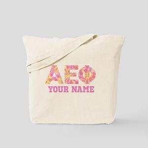 Alpha Epsilon Phi Letters Pink Personaliz Tote Bag