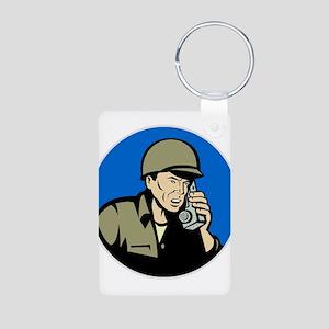 world war two soldier Aluminum Photo Keychain