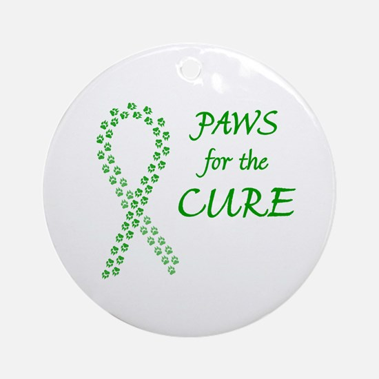 Green Paws Cure Ornament (Round)