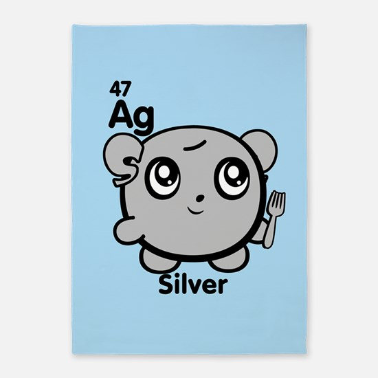 Cute Element Silver Ag 5'x7'Area Rug