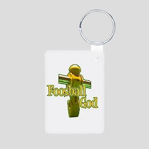 Foosball God Aluminum Photo Keychain