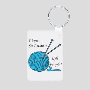 I knit Aluminum Photo Keychain