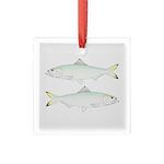 Skipjack Shad Herring Square Glass Ornament